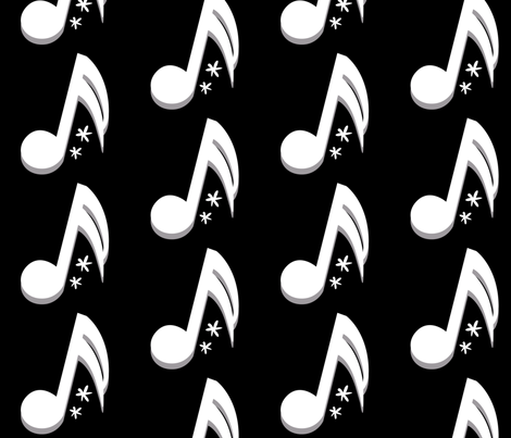 Music Notes in Black and White fabric by la_panim on Spoonflower - custom fabric
