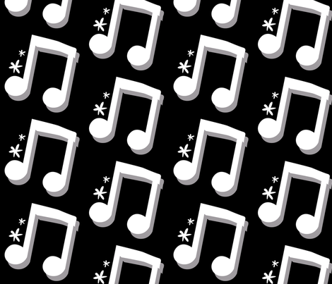 Eighth Notes in Black and White fabric by la_panim on Spoonflower - custom fabric