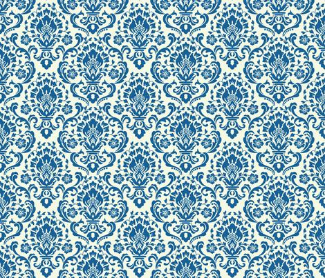 Classic Damask Blue fabric by barbarapixton on Spoonflower - custom fabric