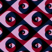 Deco swirls in orchid, burgundy and navy