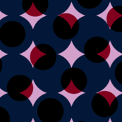 giant halftone dots in orchid, burgundy and navy