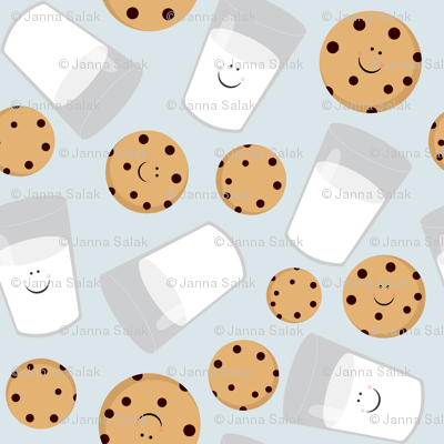 Happy Milk and Cookies Blue