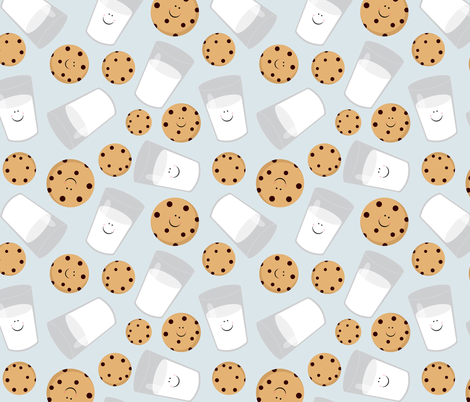 Happy Milk and Cookies Blue fabric by jannasalak on Spoonflower - custom fabric