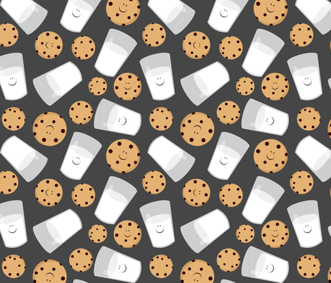 Happy Milk and Cookies Dark Gray fabric by jannasalak on Spoonflower - custom fabric