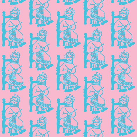 Knitting Granny Blue Pink fabric by betz on Spoonflower - custom fabric