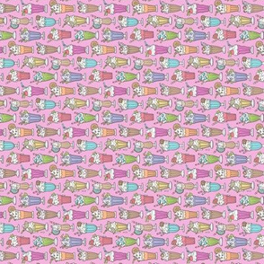 Milkshake on Magenta Pink Tiny Small 0,75 inch Rotated