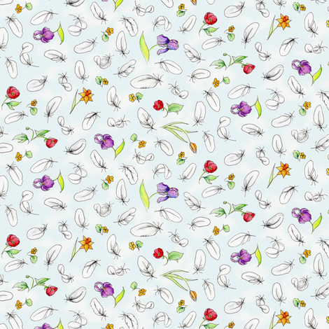 DuckyFeatherCoordinate fabric by blairfully_made on Spoonflower - custom fabric