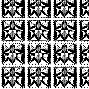 Butterfly Block Black and White