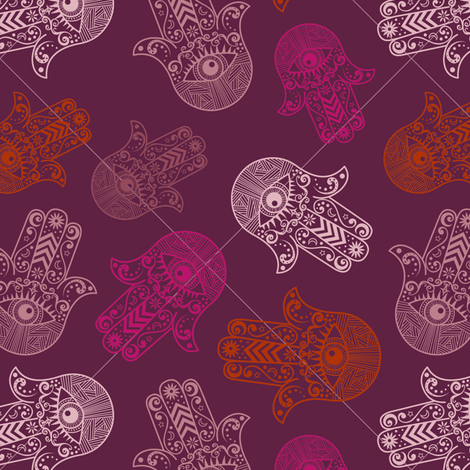 Hamsa Hand  (Khamsa) Pattern Siren Purple fabric by jannasalak on Spoonflower - custom fabric