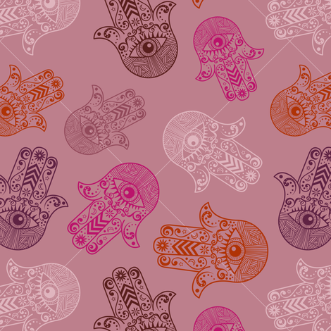 Hamsa Hand  (Khamsa) Pattern Mauve fabric by jannasalak on Spoonflower - custom fabric