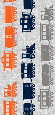 (jumbo scale) multi trains - grey, navy, orange on grey linen