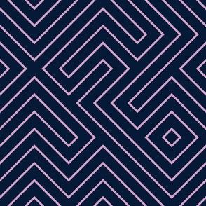 Tribal Maze- lavender on navy