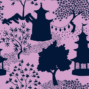 Chinoiserie Landscape Outline in navy lavender