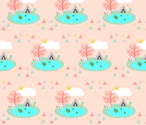 Gone Camping-Tortoise & Hare Challenge fabric by painted_poetry on Spoonflower - custom fabric