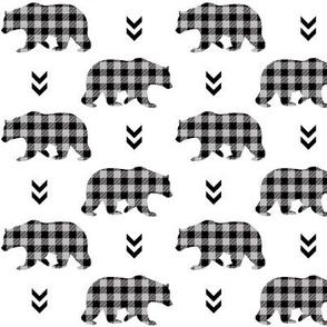 Bears  – Gray and Black Plaid Bear Buffalo Plaid Check Baby Nursery Bedding