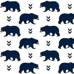 Navy Bears & Chevron Arrows - Blue Bear Baby Boy Nursery Woodland Animals Kids Childrens Bedding