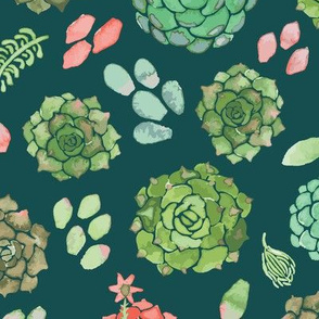 watercolor succulent forest green