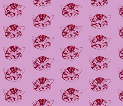 kitty medium light orchid burgundy fabric by whatever-works on Spoonflower - custom fabric