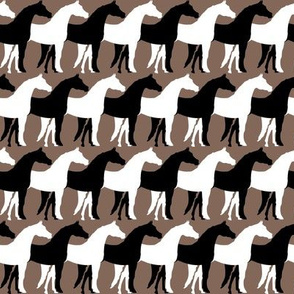 Two Inch Black and White Overlapping Horses on Taupe Brown