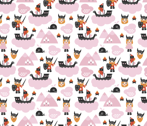 Cute kids historical hero theme viking battle ship whale and scandinavian woodland in pink and orange for girls fabric by littlesmilemakers on Spoonflower - custom fabric