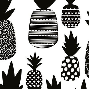 Black and white monochrome summer pineapples fruit print