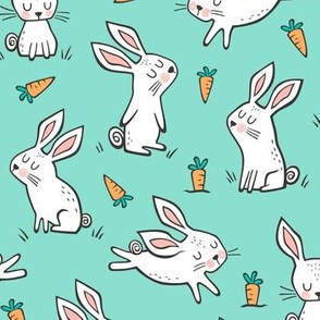 Bunnies Rabbits & Carrots On Mint Green