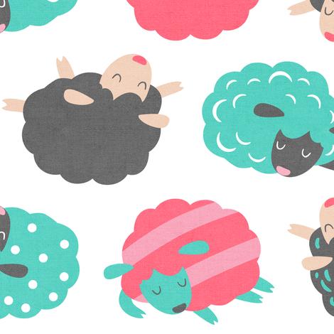 Sleepy Sheep Sherbet fabric by hollybender on Spoonflower - custom fabric
