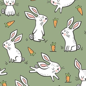 Bunnies Rabbits & Carrots On Olive Green