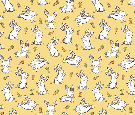 Bunnies Rabbits & Carrots On Yellow fabric by caja_design on Spoonflower - custom fabric