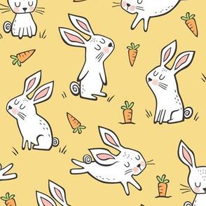 Bunnies Rabbits & Carrots On Yellow