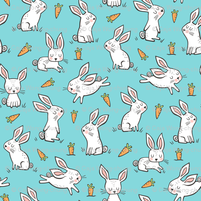 Bunnies Rabbits & Carrots On Light Blue