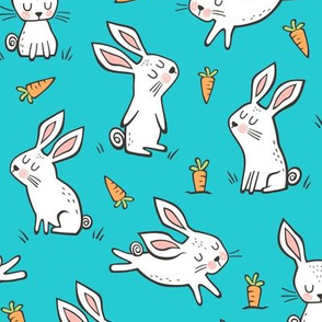 Bunnies Rabbits & Carrots On Blue
