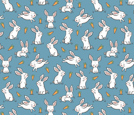 Bunnies Rabbits & Carrots On Dark Blue fabric by caja_design on Spoonflower - custom fabric