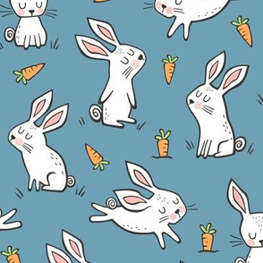Bunnies Rabbits & Carrots On Dark Blue