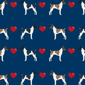 Rat Terrier love hearts dog breed fabric navy
