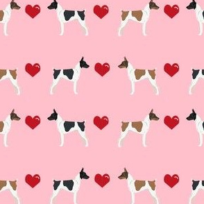 Rat Terrier love hearts dog breed fabric pink