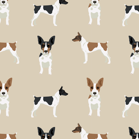 Rat Terrier simple dog breed fabric tan fabric by petfriendly on Spoonflower - custom fabric