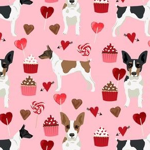 Rat Terrier valentines day cupcakes hearts love dog breed fabric pink