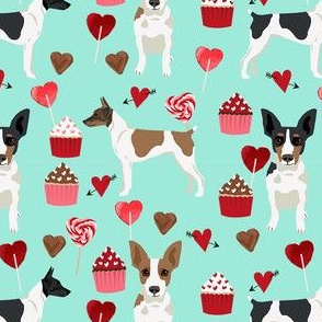 Rat Terrier valentines day cupcakes hearts love dog breed fabric mint