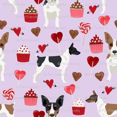 Rat Terrier valentines day cupcakes hearts love dog breed fabric purple