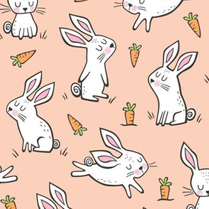 Bunnies Rabbits & Carrots On Peach