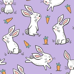 Bunnies Rabbits & Carrots On Violet Purple