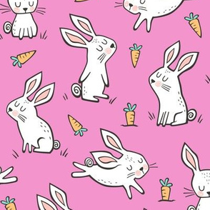 Bunnies Rabbits & Carrots On Pink