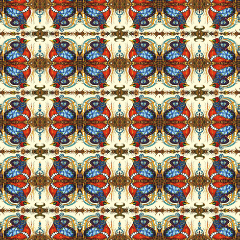 Mini Abstract Quail CW reflectioin on cream fabric by maryyx on Spoonflower - custom fabric