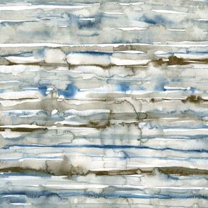 watercolor waves - sepia & indigo