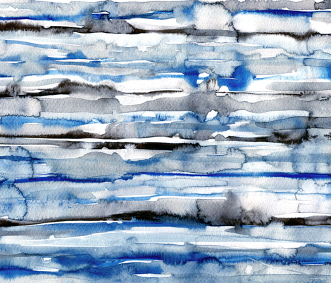 Watercolor waves - stripes in blue and black fabric by rebecca_reck_art on Spoonflower - custom fabric