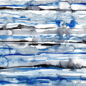 Watercolor waves - stripes in blue and black