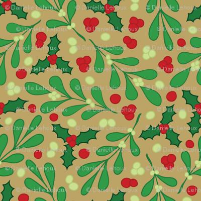 Mistletoe Holly Tan Background Wallpaper Lehouxart Spoonflower