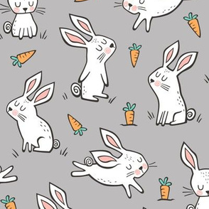 Bunnies Rabbits & Carrots On Grey