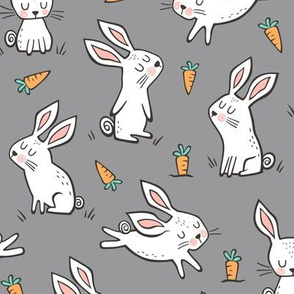 Bunnies Rabbits & Carrots On Dark Grey